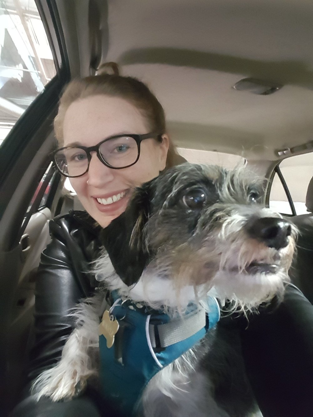 Blonde woman with big glasses, a leather jacket, and an adorable scruffy dog sitting in a car.