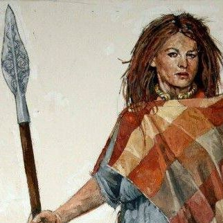 Painting of a figure invoking the spirit of Celtic Queen Boudicca who rose up to defeat the Romans after they stole her lands, beat her and raped her daughters. She holds a spear and wears a plaid cape.