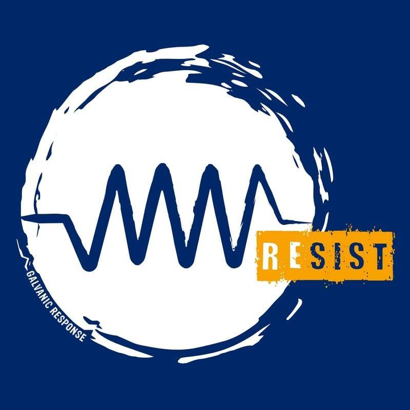 "Symbol for an electric resistor in white on a blue background. Text in yellow says ""Resist."""