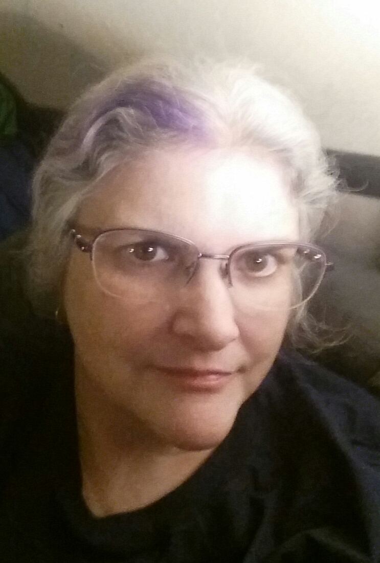 A woman with silver grey hair and a purple streak at the temple looks at the camera with a slight smile.