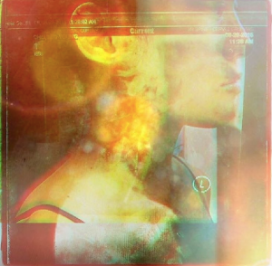 A woman's profile overlayed with shapes and yellow and red circles